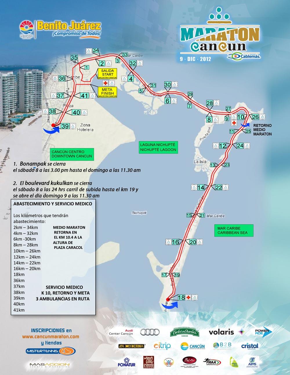 Anuncian cierre parcial del bulevar Kukulcán por Maratón Internacional de Cancún