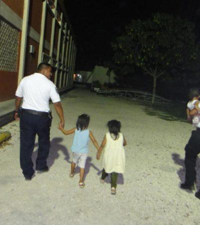 Rescata la policía a tres niñas que deambulaban solas en Cancún