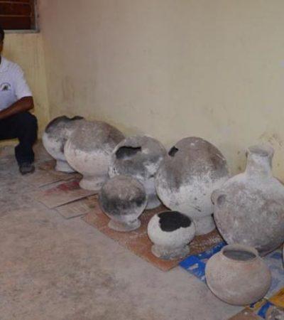 Encuentran vasijas mayas en Chacchoben