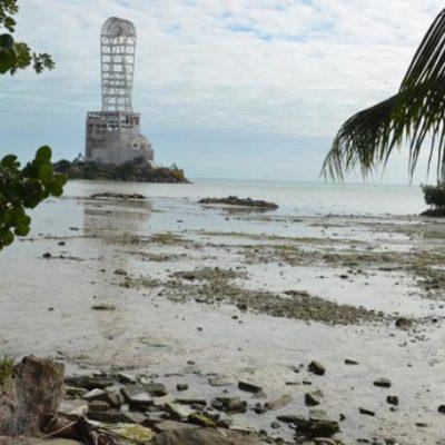 Retroceden aguas de la Bahía Chetumal como efecto del frente frío