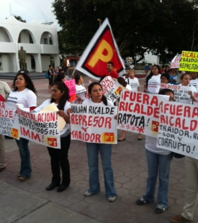 Le arman petistas otra protesta a Ricalde para exigir reinstalación de trabajadores despedidos del IMM
