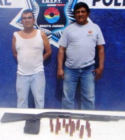 Detienen a 2 con escopeta en retén de la Cancún-Mérida