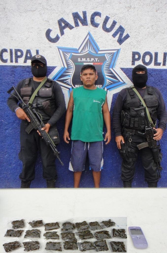 Detienen a sujeto con 21 dosis de marihuana en la región 234 de Cancún