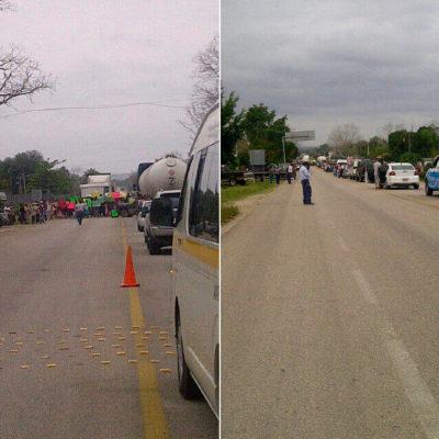 Bloquean pobladores de Francisco Villa la carretera federal Chetumal-Escárcega en demanda de centro de salud
