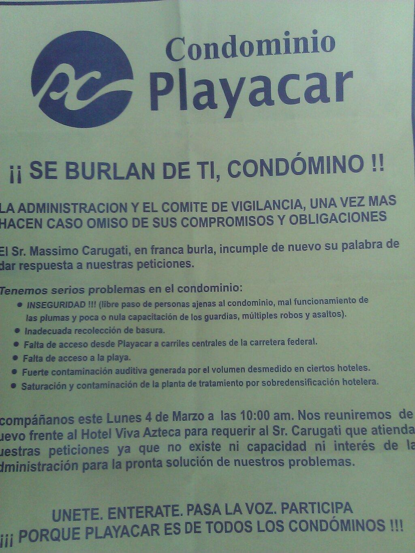 SIGUE CONFLICTO EN PLAYACAR: Condóminos vuelven a manifestarse en exclusivo complejo turístico-residencial de Playa