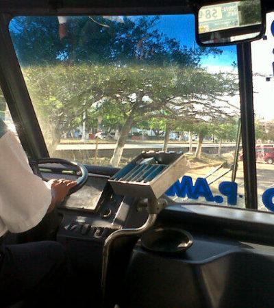 SIGUE EL VIACRUCIS DEL TRANSPORTE: Circulan camiones con un aumento de un peso para presionar el cambio arbitrario del pasaje en Cancún