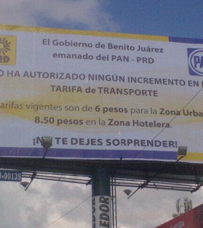 Despliegan PAN y PRD anuncios espectaculares en Cancún contra el aumento no autorizado al transporte urbano