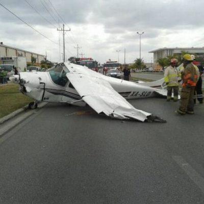 ACCIDENTE AÉREO EN PLAYA: Se desploma avioneta en pleno bulevard, frente a Sams, muy cerca de pista aérea