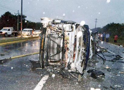 Muere calcinado chofer tras accidente por Calica, en la carretera Playa-Tulum