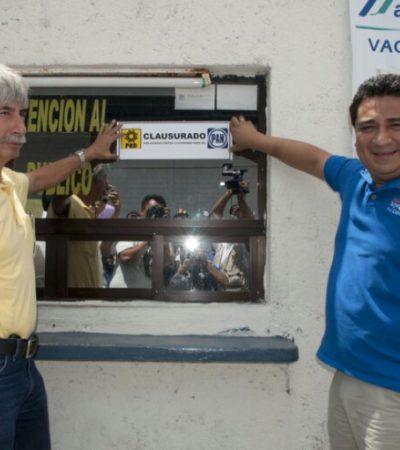 Clausuran PRD y PAN oficinas de Turicún y Autocar por aumento ilegal al transporte en Cancún