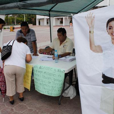 Instalan módulo para recaudar firmas en apoyo a Marybel Villegas
