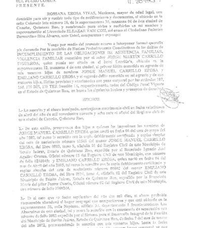 Denuncian a tío de Juan Carrillo Soberanis, líder del priista FJR, por no pagar pensión alimenticia, agresiones y amenazas