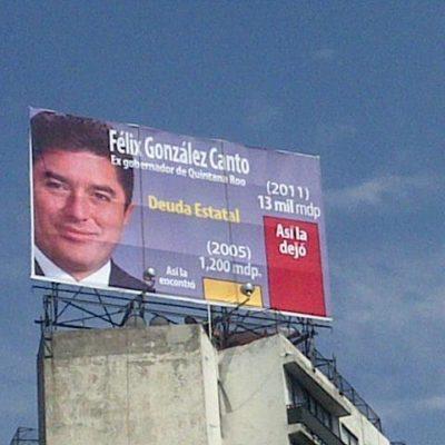 Exhiben endeudamiento de Félix González en QR con espectacular en el DF