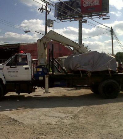 Intentan empleados del ex Alcalde Greg Sánchez sacar motores del 'dragón' del encierrro Torresbaca
