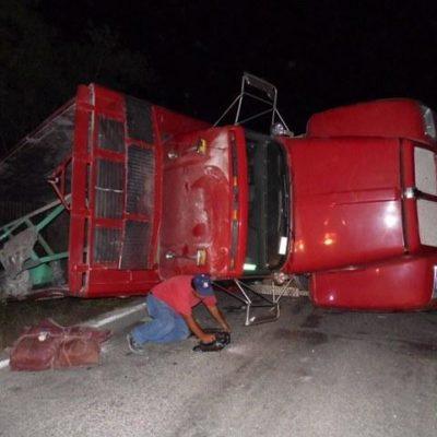 Vuelca camión en la carretera Cancún-Leona Vicario: huye el conductor