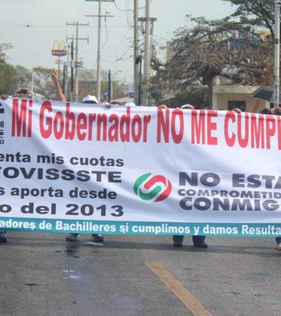 RECLAMAN MAESTROS A BORGE: Exigen al Gobernador el pago del Fovissste y otras cuotas retenidas en marchas del Día del Trabajo en Cancún y Chetumal