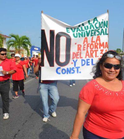 Divulgan maestros del Sureste acuerdos contra reformas de Peña Nieto tras reunión en QR