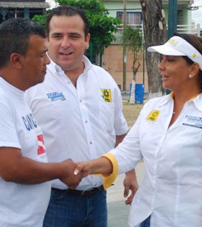 CAMPAÑAS: En busca del voto, recorren Gerardo Mora y Graciela Saldaña calles del Distrito X de Cancún