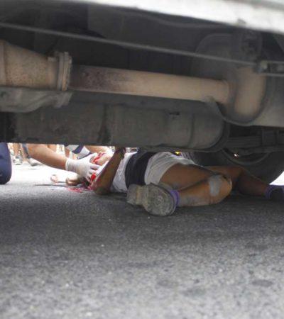 Arrolla combi a madre e hija en el fraccionamiento Paraíso Maya de Cancún; la menor está grave