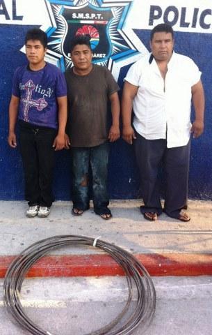 Capturan a 3 por robo de cobre del alumbrado público en Cancún; uno es taxista
