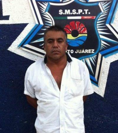 Detienen a taxista tras asaltar a su propia pasajera en Cancún