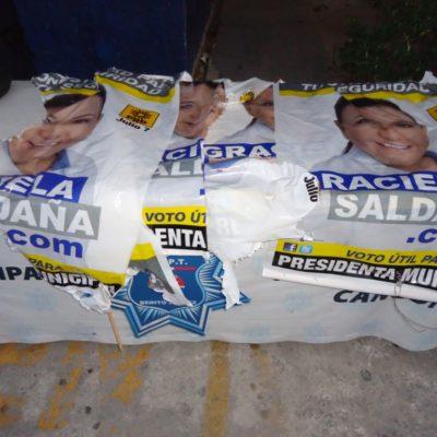 CAMPAÑAS: Detienen a sujeto por retirar propaganda de la candidata Graciela Saldaña en Cancún