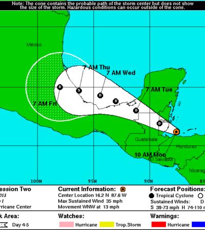 Se forma depresión tropical frente a costas de Belice; sólo el sur de QR resentiría lluvias intensas