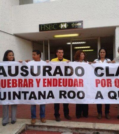 EXHIBEN LA 'QUIEBRA' DE BORGE: Clausuran candidatos del PRD-PAN sede del Gobierno de QR en Cancún