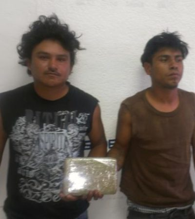 Detienen a 2 en Chetumal con un tabique de cocaína