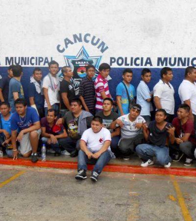 TENSIÓN EN CANCÚN: Detienen policías municipales a 'grupo de choque' y General Bibiano Villa intenta rescatarlos; llega Borge y se reúne con Julián
