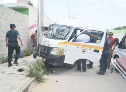 Deja 7 heridos accidente en transporte público en Chetumal