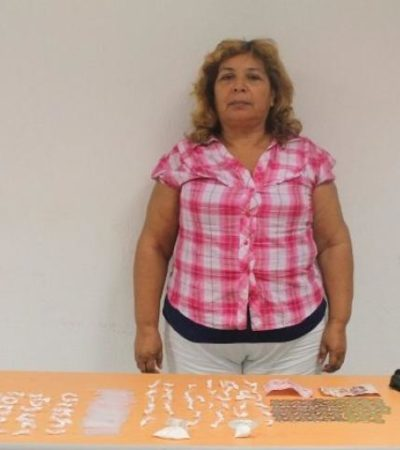 Detienen a mujer con 100 dosis de cocaína en Chetumal