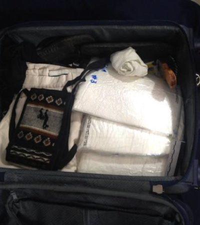 Procedentes de un vuelo de Lima, incautan más de 8 kilos de cocaína en aeropuerto de Cancún