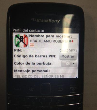 PRIMICIA: Foto del 'PIN' del Gobernador Borge en Blackberry promoviendo al PRI
