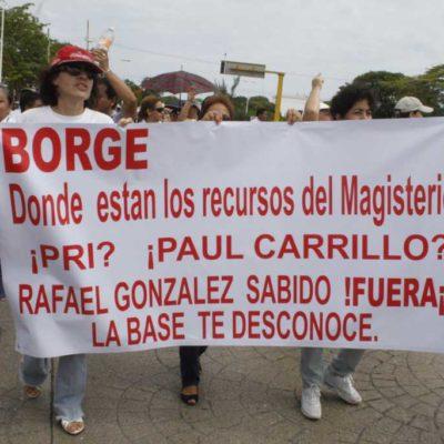 MARCHAS DE MAESTROS EN QR: Protestas en Cancún, Chetumal y Playa contra reforma educativa y escamoteo de pagos al Fovisste y otras prestaciones