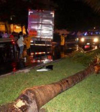 COMO DE PELÍCULA: Para huir de accidente, trailero arrastra todo a su paso y casi se estrella contra el Holiday Inn en la Zona Hotelera