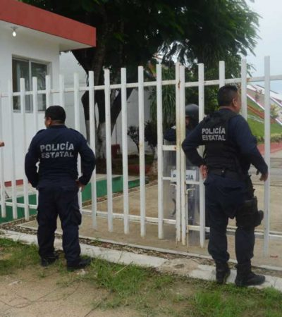 Blindan con antimotines oficinas de la SEQ ante una supuesta alerta de toma de instalaciones por parte de maestros