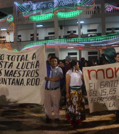 """""""¡FUERA, BORGE!, ¡REPRESOR!"""": Lo que no te mostraron de la noche del Grito en Chetumal"""