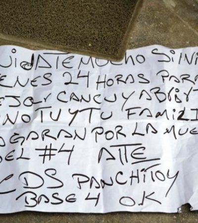 Balean despacho de abogados y dejan mensaje amenazante en Cancún