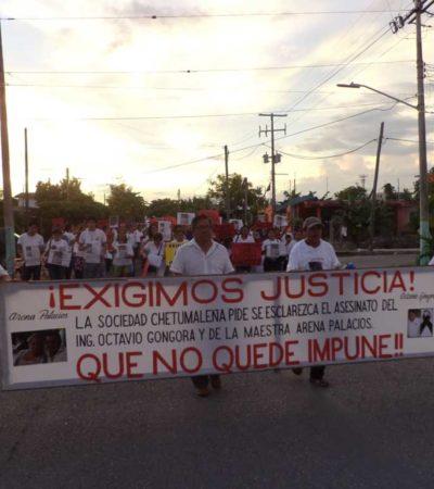 Con respaldo de cientos, marchan familiares de pareja asesinada en Chetumal para exigir justicia