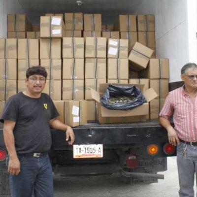 Interceptan en aeropuerto de Cancún contrabando de 4 toneladas de pepino de mar que pretendían enviar a Hong Kong