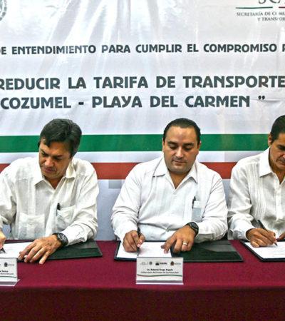 Bajan 10% la tarifa del barco a Cozumel… sólo para cozumeleños