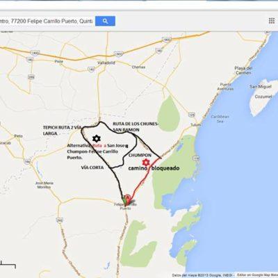 MAPAS: Rutas alternas para evitar el bloqueo carretero de maestros en Felipe Carrillo Puerto