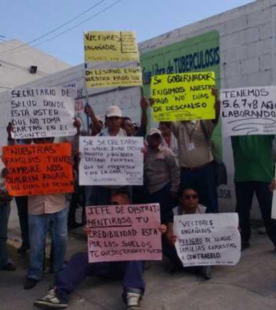 PARO DE LABORES EN SESA: Protestan en Cancún unos 300 trabajadores que combaten el dengue por falta de pagos; inconformidad, también en otros municipios