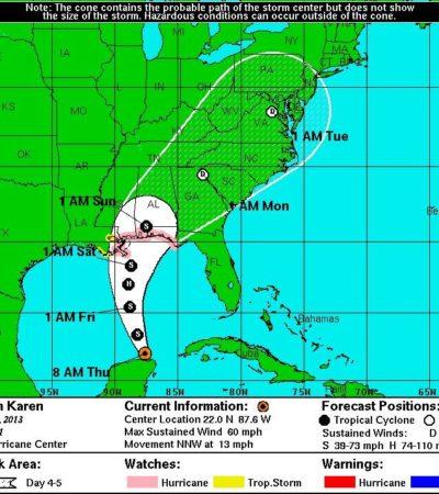"""PEGA A QR """"FANTASMA DE GUERRERO"""": Se forma tormenta tropical 'Karen' en el Golfo y se aleja sin afectar a QR; sobrerreacción de Borge; mantienen suspensión de clases"""