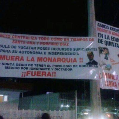 ¿MAESTROS POR LA INDEPENDENCIA DE YUCATÁN?: Colocan manta en la SEyC para alentar autonomía de la Península ante excesos de Peña Nieto