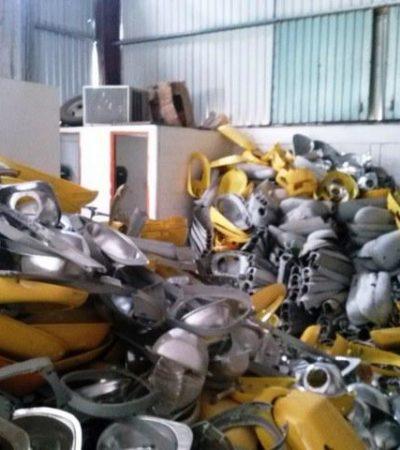 Hallan bodega con más de 500 lámparas del alumbrado público de Cancún en proceso de desmantelamiento; detienen a 8
