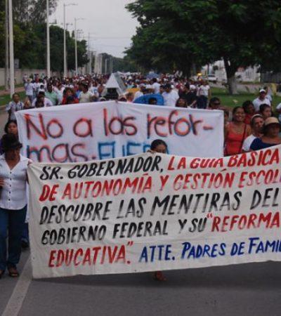 REFUERZAN EL 'FRENTE' DE CANCÚN: Se movilizan maestros de OPB y Bacalar y el Comité de Lucha para dirigir la defensa magisterial desde el norte de QR
