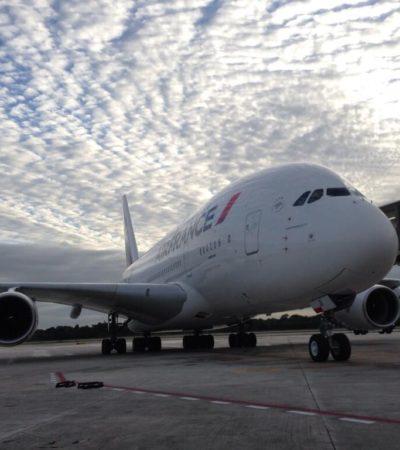 EL MÁS GRANDE EN CANCÚN: Desde Francia, aterriza por primera vez en México el Airbus A380, el avión comercial más grande del mundo