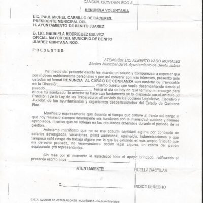 Filtran formato para obligar a renunciar a empleados en el Ayuntamiento de BJ